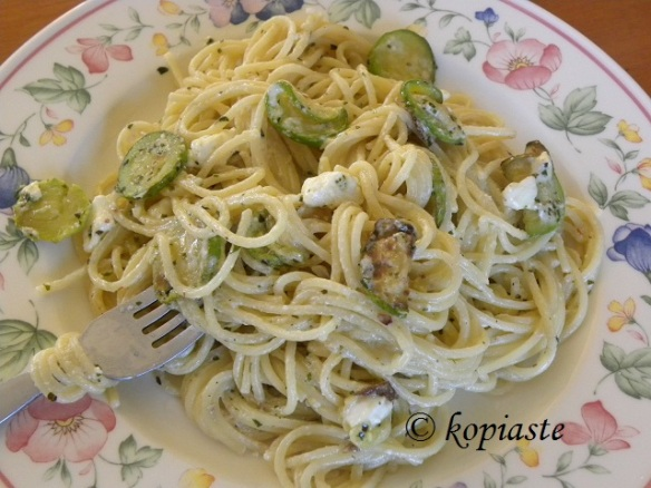 spaghetti with feta and yoghurt